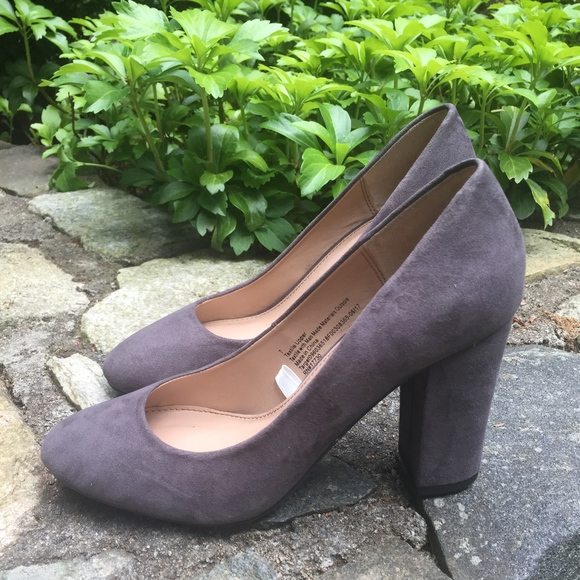 e6c99ef00 a new day Shoes | Grey Suede Chunky Heels | Poshmark